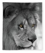 African Lion #8 Black And White  T O C Fleece Blanket