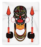 African Motive Background With Ornament Details And Spears  Fleece Blanket