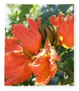 African Tulips Fleece Blanket