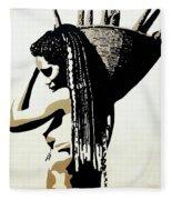 African Woman With Basket Fleece Blanket