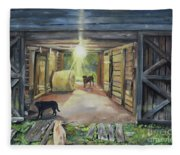 After Hours In Pa's Barn - Barn Lights - Labs Fleece Blanket