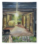 After Hours In Pa's Barn - Barn Lights - Labs Fleece Blanket