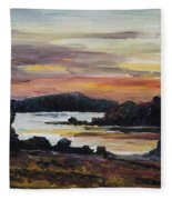 After Sunset At Lake Fleesensee Fleece Blanket