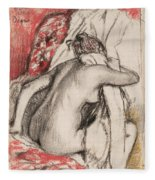 After The Bath Seated Woman Drying Herself Fleece Blanket