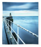 After The Shower Over Whitby Pier Fleece Blanket
