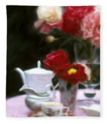 Afternnon Tea With Peonies Fleece Blanket