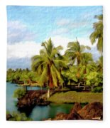 Afternoon At Mauna Lani Hawaii Fleece Blanket
