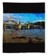 Afternoon At Siuslaw River Bridge Fleece Blanket