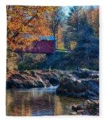 Afternoon Autumn Sun On Vermont Covered Bridge Fleece Blanket