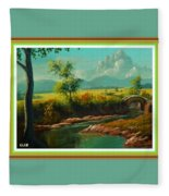Afternoon By The River With Peaceful Landscape L A S With Decorative Ornate Printed Frame. Fleece Blanket