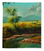 Afternoon By The River With Peaceful Landscape L B Fleece Blanket