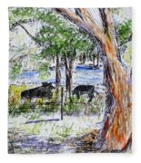 Afternoon Siesta On The Farm Fleece Blanket