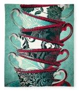 Afternoon Tea Aqua Fleece Blanket