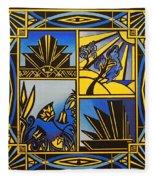 Art Deco In Blue Fleece Blanket