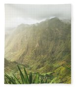 Agave Plants And Rocky Mountains. Santo Antao. Fleece Blanket