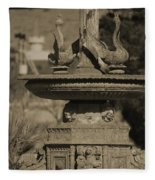 Aged And Worn Swan Statues On Rustic Cast Fountain Fleece Blanket