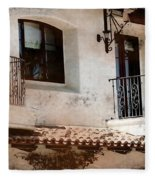 Aged Stucco Building Balcony With Terracotta Roof Fleece Blanket