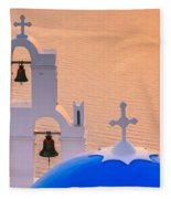 Aghioi Theodoroi Church At Firostefani, Santorini Fleece Blanket