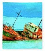 Aground Off Jamaica Fleece Blanket