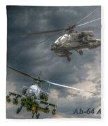 Ah-64 Apache Attack Helicopter In Flight Fleece Blanket