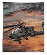 Ah-64 Apache Attack Helicopter Fleece Blanket