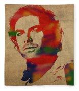 Aidan Turner As Poldark Watercolor Portrait Fleece Blanket