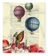 Hot Air Balloons Above Flower Field Fleece Blanket