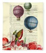 Hot Air Balloons Above Flower Field Fleece Blanket