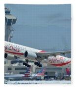 Air China Boeing 777-39ler B-2035 Smiling China Los Angeles International Airport May 3 2016 Fleece Blanket