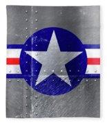 Air Force Logo On Riveted Steel Plane Fuselage Fleece Blanket