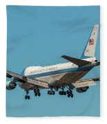 Air Force One On Final Approach Into Charleston South Carolina Fleece Blanket