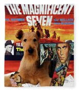 Airedale Terrier Art Canvas Print - The Magnificent Seven Movie Poster Fleece Blanket