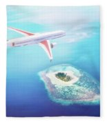 Airplane Flying Over Maldives Islands On Indian Ocean. Travel Fleece Blanket