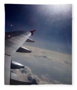 Airplane Wing In Clouds Fleece Blanket