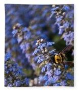 Ajuga And Bumblebee Fleece Blanket