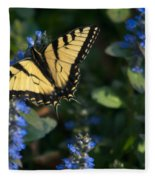 Ajuga With Tiger Butterfly Fleece Blanket