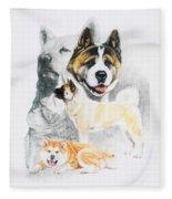 Akita Ken Revamp Fleece Blanket by Barbara Keith