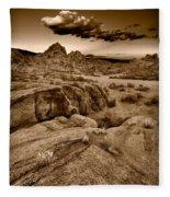 Alabama Hills California B W Fleece Blanket