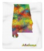Alabama State Map Fleece Blanket