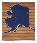 Alaska Map And Flag On Wood Fleece Blanket