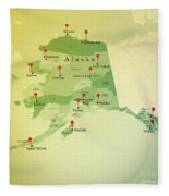 Alaska Map Square Cities Straight Pin Vintage Fleece Blanket