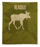 Alaska State Facts Minimalist Movie Poster Art Fleece Blanket