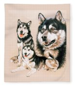 Alaskan Malamute Fleece Blanket by Barbara Keith