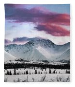 Alaskan Range At Sunset Fleece Blanket