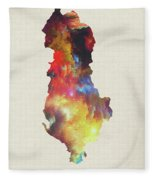 Albania Watercolor Map Fleece Blanket