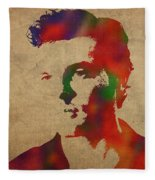 Alden Ehrenreich Watercolor Portrait Fleece Blanket