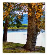 Alder Lake In The Fall Fleece Blanket