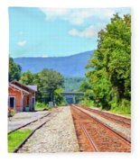 Alderson Train Depot And Tracks Alderson West Virginia Fleece Blanket