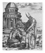 Alexander The Great Kneeling Before The High Priest Of Ammon Fleece Blanket