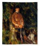 Alfred Berard And His Dog 1881 Fleece Blanket